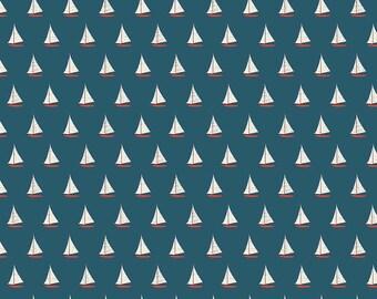 Riley Blake Designs Offshore Sailboat Blue fabric   - 1 yard