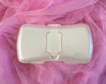 Plastic diaper wipe case for embellishing for baby