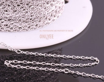 5yd-2.6mmX3.7mmBright Rhodium plated Brass Delicate Chain For necklace chain, link chains (N142S)