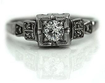 Art Deco Engagement Ring Antique 1920s Platinum Wedding Ring Vintage Dainty .25ctw Old Mine Cut Diamond Engagement Ring Size 4!
