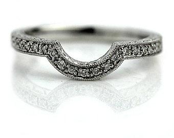 Antique Style Diamond Engraved Wedding Ring Band .11ctw Contoured Milgrain Wedding Band Vintage Style Diamond Ring 18K White Gold Size 6.5!