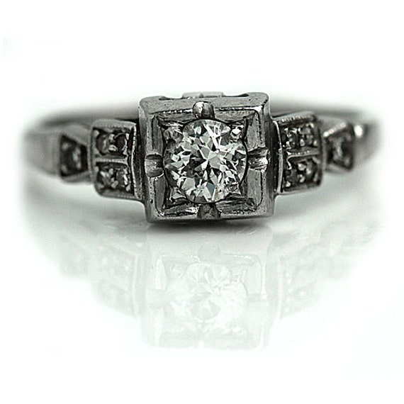 Art Deco Engagement Ring Antique 1920s Platinum Wedding Ring