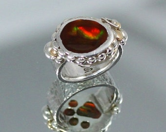 20% OFF Valentines Sale Dog Lovers' Ring, Mexican Fire Agate Ring set in Fine Silver with 14k. Gold Accents  SIZE  8