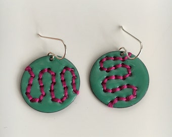 Stitched Disc Earrings