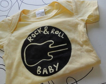 ROCK and ROLL BABY hand stenciled novelty onesie bodysuit