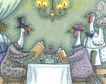 Thanksgiving Bird Turkeys Dining Holiday Art ACEO Susan Brack Ebsq