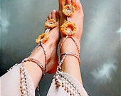 Boho Barefoot Sandals Crochet Barefoot Sandals, Boho Beach anklets Beach Foot Jewelry Anklets Hippy Wedding accessorie Yoga Yellow anklets
