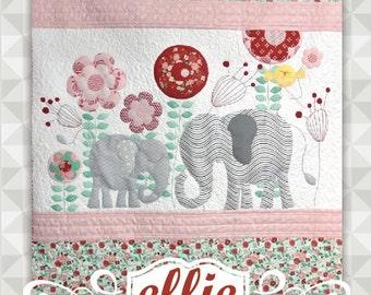Instant Download- Ellie Quilt Pattern.  Embroidery. Elephant. Panel Quilt. Easy Applique. Children's Quilt Pattern. Nursery. Appliqué.