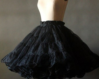 Vintage 50's/60's Black Triple Layer Crinoline Petticoat by Malco Modes of San Francisco, size M