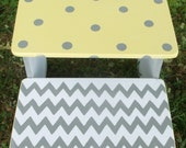 Yellow and Grey, Kids Step Stool Bench Nursery Decor,  Stool, Kids Furniture and Decor Bathroom Stools, Personalized