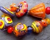 Summer Mix - Handmade Lampwork Bead Set (14) by Anne Schelling, SRA