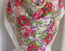 """Echo // Off White Colorful Floral Large Silk Scarf // 35"""" 90cm Square // Best of the Best"""