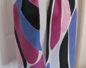 "Designer Colorful Soft Silk Scarf // 11"" x 54"" Long"