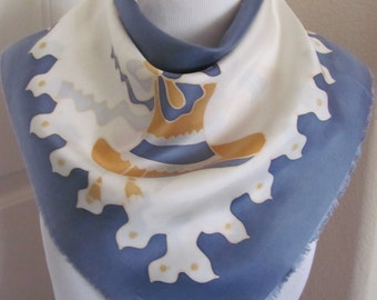 """Lovely White Blue Soft Silk Scarf  // 24"""" Inch 56cm Square // Best of the Best"""