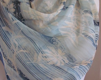 "Beautiful Vintage Blue White Silk Scarf - 16"" x 42"" Long"