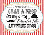 "Printable DIY Vintage Circus Photo Booth Prop sign - 11"" x 14"" INSTANT DOWNLOAD"