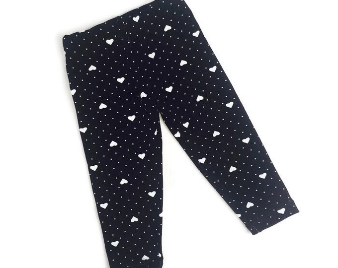 Leggings black, girls leggings dots, girls outfit, baby girls leggings, black leggings, size newborn - 18 m