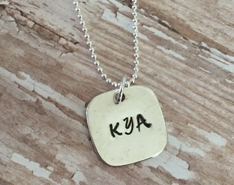 Simple Charm Necklace, Silver Charm Necklace, Personalized Charm with Name Necklace