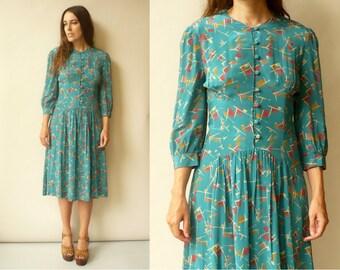 1980's Does 1940's Vintage Geometric Printed Midi Tea Dress Size Small