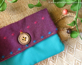 Coin Purse in Purple, Pink and Turquoise Color Combination - For Cards, Coins and Small Essential