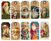 Hang Tags Vintage Santa PDF DIY Craft Instant Download