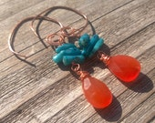 Orange carnelian and turquoise bamboo coral chips on hammered copper spiral dangle earrings