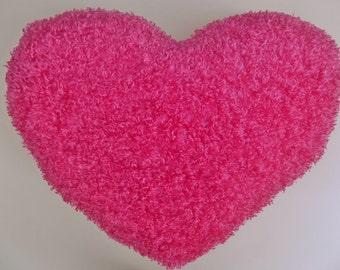 PINK HEART Shaggy Silky Throw Toss Heart Pillow * Huggable Comfy Pillow * Large Heart Pillow * 17 in. x 21- 1/2 in.* SOFT