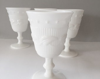 4 White Glass Goblets Vintage Milk Glass Wine or Water Goblets Glasses Wedding Stemware Fostoria Wistar Betsy Ross