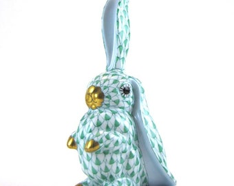 Herend Porcelain Figurine Rabbit w/ One Ear Up Porcelain Bunny Rabbit