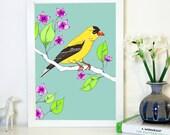 Gold Finch, Bird, Art Print