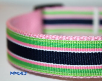 Preppy Dog Collar, Pink Stripe Dog Collar, Girl Dog Collar, Navy Dog Collar, Pink Collar