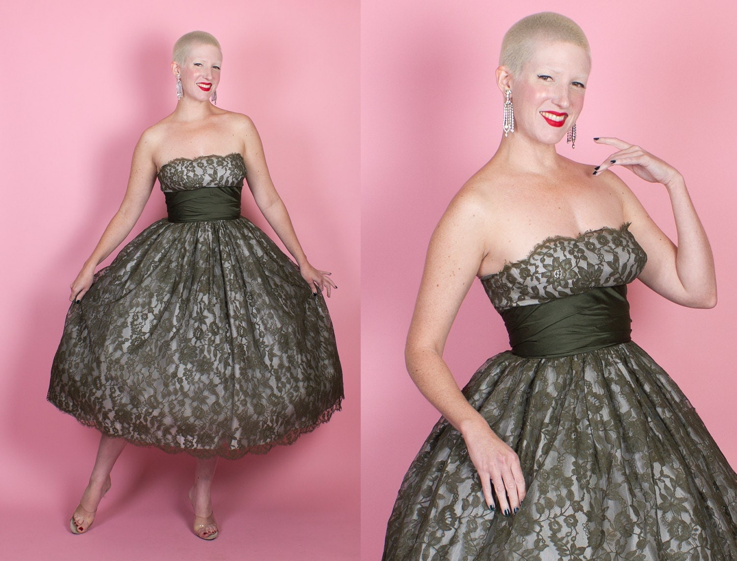 STUNNING 1950s New Look Olive Green Floral Chantilly Lace Over Silver Satin Strapless Party Dress w/ Silk Midsection by Marshall Field - M