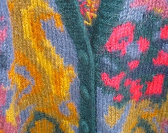 GORGEOUS  Slouchy 80s Hand Knit Fall Jewel Tone HighFashion  Mohair Cardigan Sweater MINT Condition Size Small