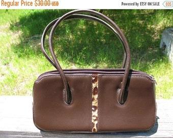 Vintage 80s Brown Leather with Leopard Print Fur Trim