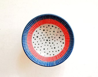 Ceramic Red, Blue and Dot Jewelry Dish