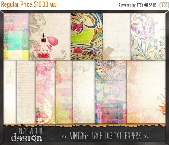 60% OFF SALE Shabby Chic Digital paper, Digital Scrapbook paper pack, Instant download, 12 Digital Papers, Vintage shabby chic