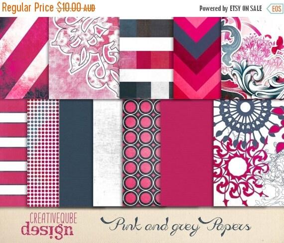 60% OFF Sale Digital paper, Digital Scrapbook paper pack - Instant download - 12 Digital Papers - Pink and grey