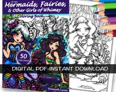 PDF DIGITAL Printable Coloring Book All Ages Fantasy 50 Fan Favs Mermaid Fairy Art by Hannah Lynn