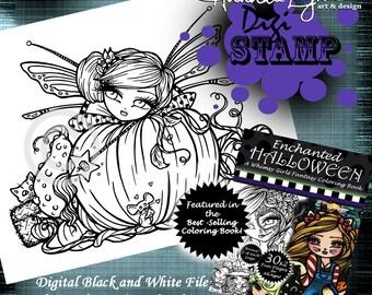 PRINTABLE Digi Stamp Pumpkin Patch Fairy Girl Enchanted Halloween Coloring Page Fun Fantasy Art Hannah Lynn