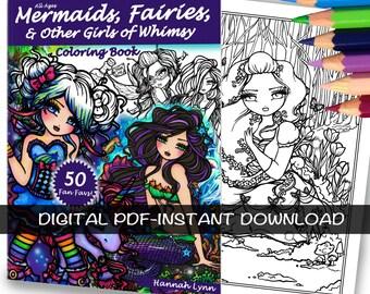 PDF DIGITAL Printable Coloring Book All Ages Fantasy 50 Fan Favs Mermaid Fairy Art by Hannah Lynn