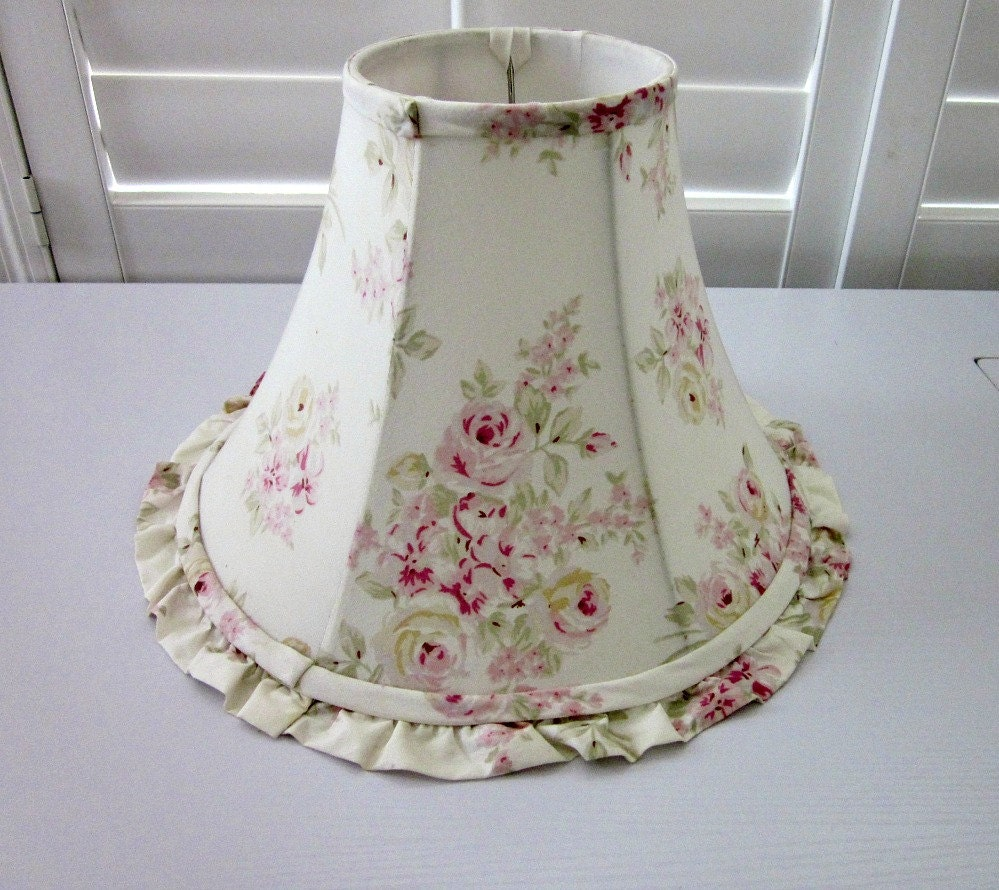 Chic Lamps: Vintage 1980's Shabby Chic Floral Lamp Shade With Ruffle