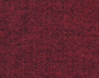 Red and Black Redwood Herringbone Robert Kaufman Shetland Flannel, 1 Yard