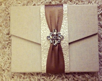 Folio Only - Rustic Fabric Covered Clutch for Wedding Invitation