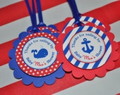 Nautical BABY SHOWER Favor Tags - Party Favors - Boys Baby Shower Decorations - Nautical Party Favors - Whales and Anchors - Set of 12