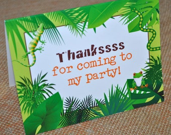 Birthday Thank You Cards Reptile Amphibian, Snakes, Lizards, Frogs Birthday Decorations, Thank You Notes, Set of 10