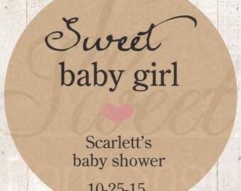 Girls Baby Shower Favor Stickers - Rustic Baby Shower Thank You Stickers - Kraft Favor Stickers - Pink Heart (Sweet Baby Girl) - Set of 24