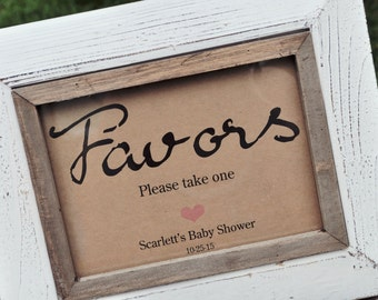 Favor Sign Baby Showers, Weddings, 5x7 Rustic, Kraft Print - Wedding Favors Sign, Baby Shower Favors - Please Take One Favor Sign