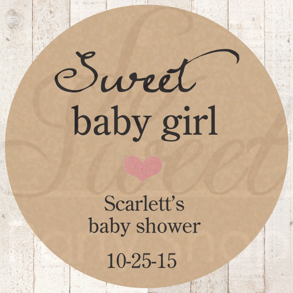 Baby Shower Stickers For Favors: Girls Baby Shower Favor Stickers Rustic Baby Shower Thank
