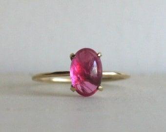 Mahenge spinel hot pink 10k ring