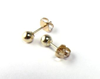 Ball Studs, Gold studs, Gold ball Stud Earrings, Ball Posts, 4mm ball studs, tiny Dot posts, dot studs, gold ball posts, helix stud